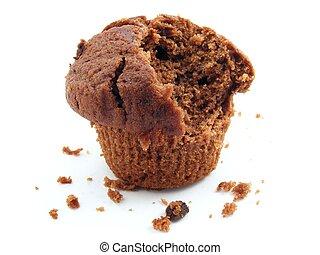 Half eaten chocolate muffin - A chocolate muffin with a bite...