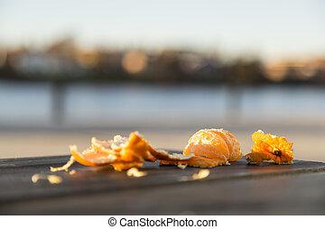 Half Eaten Clementine - Pealed Half Eaten Clementine one...