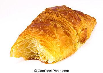 Half-eaten croissant - Studio shot of a half eaten fresh...