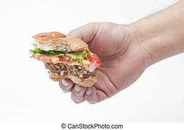 half eaten - A half eaten hamburger held by a hand