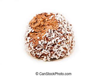 Half eaten - A half eaten chocolate ball isolated on a white...