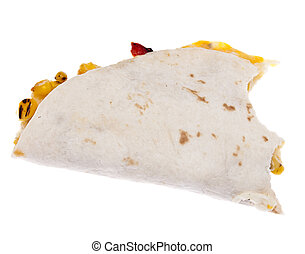 Half Eaten Quesadilla Isolated on White with a Clipping...