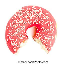 Half eaten red Donut with sugar sprinkles - Single red sugar...