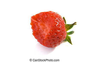 Half eaten strawberry - Half eaten on a white background