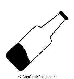 half empty glass bottle icon. isolated vector illustration