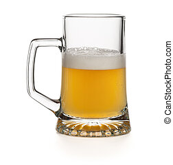 half empty glass of a light lager beer isolated