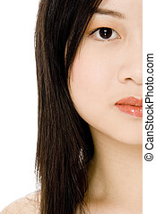 Half Face - A cropped picture of a beautiful asian woman