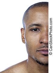 half face of a man close up