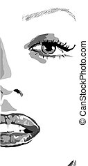 half Face of girl with lips and nails like monroe. clip art of a beautiful woman with red lips like mere-lin monroe. vector
