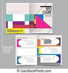 half-fold, スタイル, カラフルである, 現代, テンプレート, パンフレット, 幾何学的
