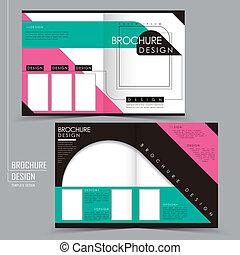 half-fold, スタイル, 現代, テンプレート, パンフレット, 幾何学的