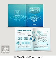 half-fold, sencillez, diseño, plantilla, folleto