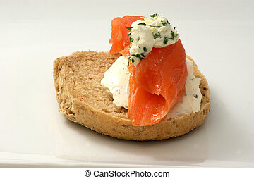 half french roll with cottage cheese and wild salmom