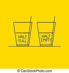 Half full and half empty glass. Life philosophy of optimist and pessimist