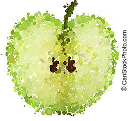 half green apple of blots vector isolated