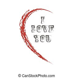 half heart with  I love you