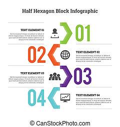 Half Hex Block Infographic - Vector illustration of half...
