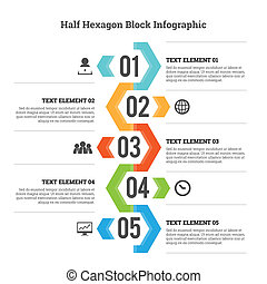 Vector illustration of half hexagon block infographic design element.
