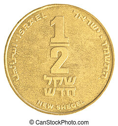 Half Israeli New Sheqel coin isolated on white background