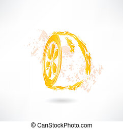Half lemon grunge icon