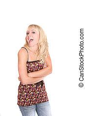 half length blonde - one attractive half length portrait of...