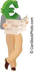 half-length human body Euros reading newspaper