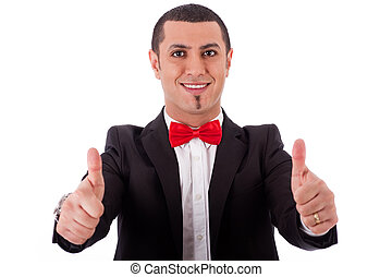 Half length of successful business man with thumbs up