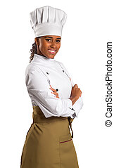 half length portrait of african american female chef.