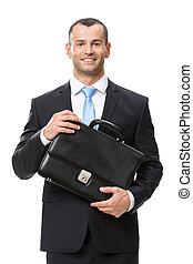 Half-length portrait of business man keeping case