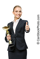 Half-length portrait of business woman keeping cup