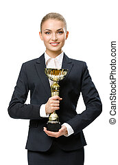 Half-length portrait of business woman keeping gold cup