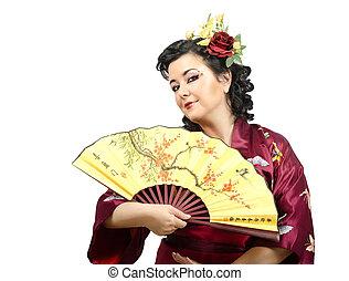 Half-length portrait of flowers woman