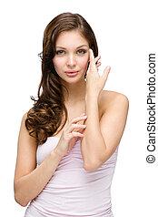 Half-length portrait of girl touching her face - Half-length...