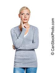 Half-length portrait of pensive woman