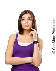 Half-length portrait of pensive young woman