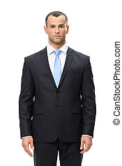 Half-length portrait of serious businessman - Half-length...