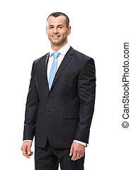 Half-length portrait of smiley business man