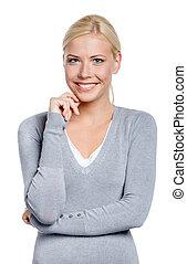 Half-length portrait of smiley woman