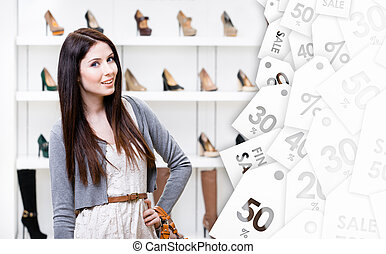 Half-length portrait of woman in shopping center. Sale time