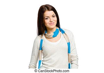 Half-length portrait of woman with scarf - Half-length...
