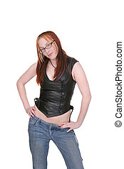half length portrait - one attractive young twenties woman...