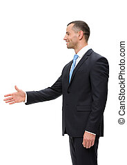 Half-length profile of business man handshaking