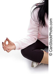 half length view of female in lotus pose with white...