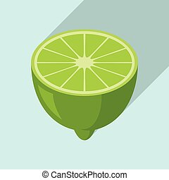 Half lime icon, flat style - Half lime icon. Flat ...