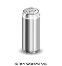 Half liter glossy aluminum can, soda or beer template isolated on white