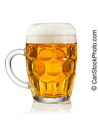 Half litre glass of beer on white background - Glass of beer...