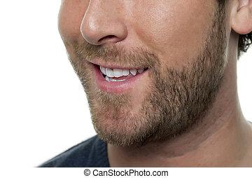 half man face close up