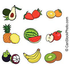 cut in half many fruit on white background