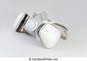 half mask respirator against white