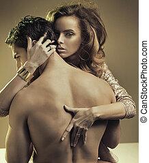 half-naked, haar, het koesteren, mooi, dame, boyfriend